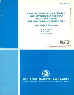 Primary view of object titled 'ORNL nuclear safety research and development program bimonthly report for November--December 1972'.
