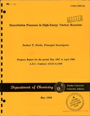 Primary view of object titled 'Deexcitation Processes in High-Energy Nuclear Reactions. Progress Report for the Period May 1967--April 1968.'.