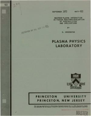 Primary view of object titled 'Neutron-Plasma Interaction in Fusion Reactors: Evaluation of Possibilities and Implications.'.