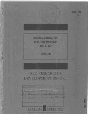 Primary view of object titled 'Technical Publications of Battelle-Northwest During 1967.'.