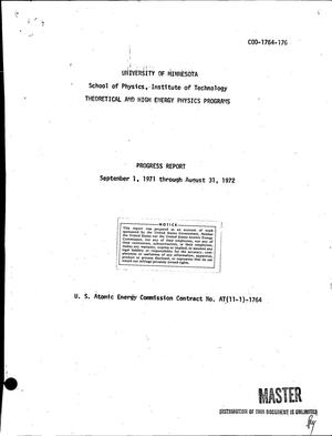 Primary view of object titled 'Theoretical and high energy physics programs: Progress report, September 1, 1971--August 31, 1972.'.