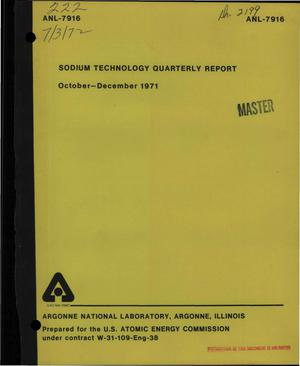 Primary view of object titled 'Sodium Technology Quarterly Report, October--December 1971.'.
