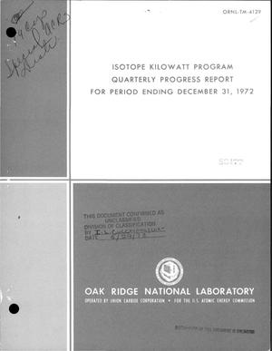 Primary view of object titled 'Isotope kilowatt program quarterly progress report for period ending December 31, 1972'.