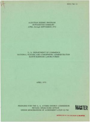 Primary view of object titled 'Aleutian Seismic Program hypocenter summary, April--September 1972'.