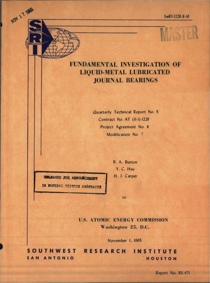 Fundamental Investigation Of Liquid Metal Lubricated Journal