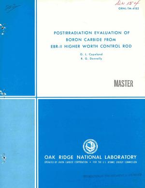 Primary view of object titled 'Postirradiation evaluation of boron carbide from EBR-II higher worth control rod'.