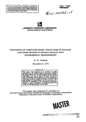 Primary view of object titled 'Comparison of Computer Model Predictions of Nuclear Explosion Effects in Hoggar Granite With Experimental Measurements.'.