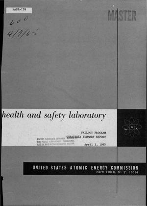 Primary view of object titled 'FALLOUT PROGRAM. Quarterly Summary Report, December 1, 1964-March 1, 1965'.