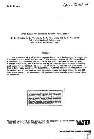 Primary view of object titled 'LMFBR RADIATION TRANSPORT METHODS DEVELOPMENT.'.