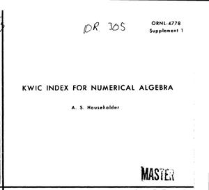 Primary view of object titled 'KWIC index for numerical algebra'.