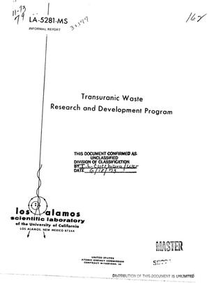 Primary view of object titled 'Transuranic Waste Research and Development Program'.