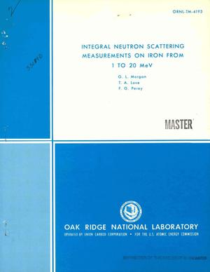 Primary view of object titled 'Integral neutron scattering measurements on iron from 1 to 20 MeV'.