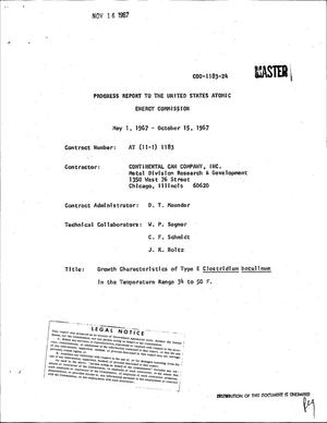 Primary view of object titled 'GROWTH CHARACTERISTICS OF TYPE E CLOSTRIDIUM BOTULINUM IN THE TEMPERATURE RANGE 34 TO 50 F. Progress Report, May 1--October 15, 1967.'.