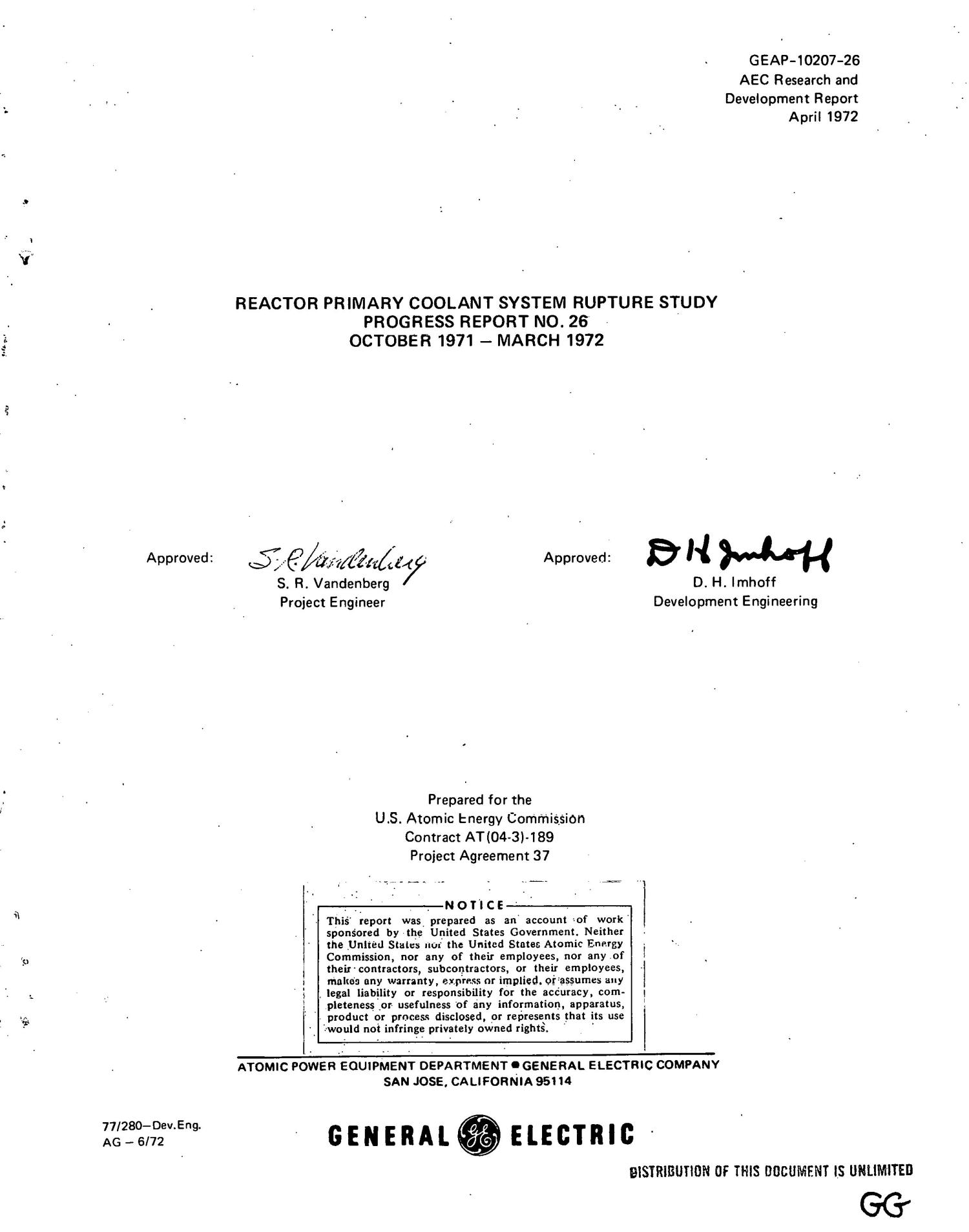 REACTOR PRIMARY COOLANT SYSTEM RUPTURE STUDY. Progress Report No. 26, October 1971--March 1972.                                                                                                      [Sequence #]: 4 of 80