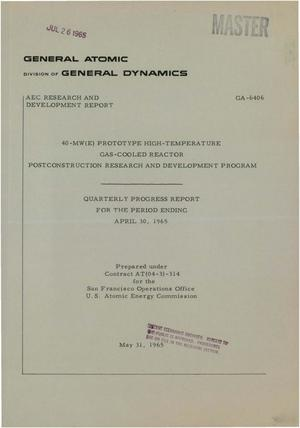 Primary view of object titled '40-MW(E) PROTOTYPE HIGH-TEMPERATURE GAS-COOLED REACTOR POSTCONSTRUCTION RESEARCH AND DEVELOPMENT PROGRAM. Quarterly Progress Report for the Period Ending April 30, 1965'.