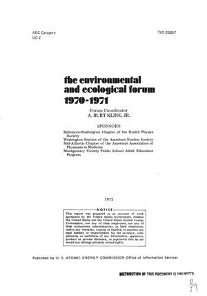 Primary view of object titled 'ENVIRONMENTAL AND ECOLOGICAL FORUM, 1970--1971.'.