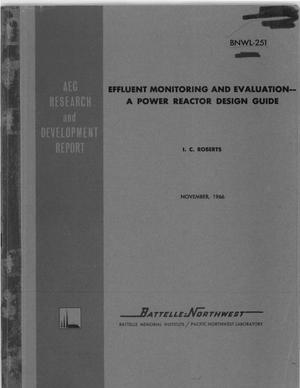 Primary view of object titled 'EFFLUENT MONITORING AND EVALUATION: A POWER REACTOR DESIGN GUIDE.'.