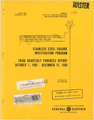 Primary view of object titled 'STAINLESS STEEL FAILURE INVESTIGATION PROGRAM. Quarterly Progress Report No. 3, October 1, 1965-December 31, 1965'.