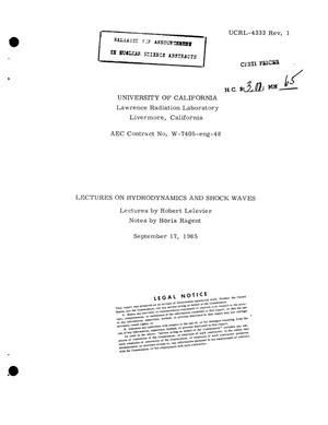 Primary view of object titled 'Lectures on Hydrodynamics and Shock Waves.'.