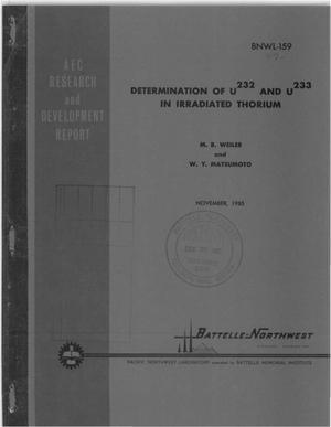 Primary view of object titled 'DETERMINATION OF 232U AND 233U IN IRRADIATED THORIUM'.