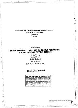 Primary view of object titled 'Environmental Sampling Program Following an Accidental Tritium Release.'.