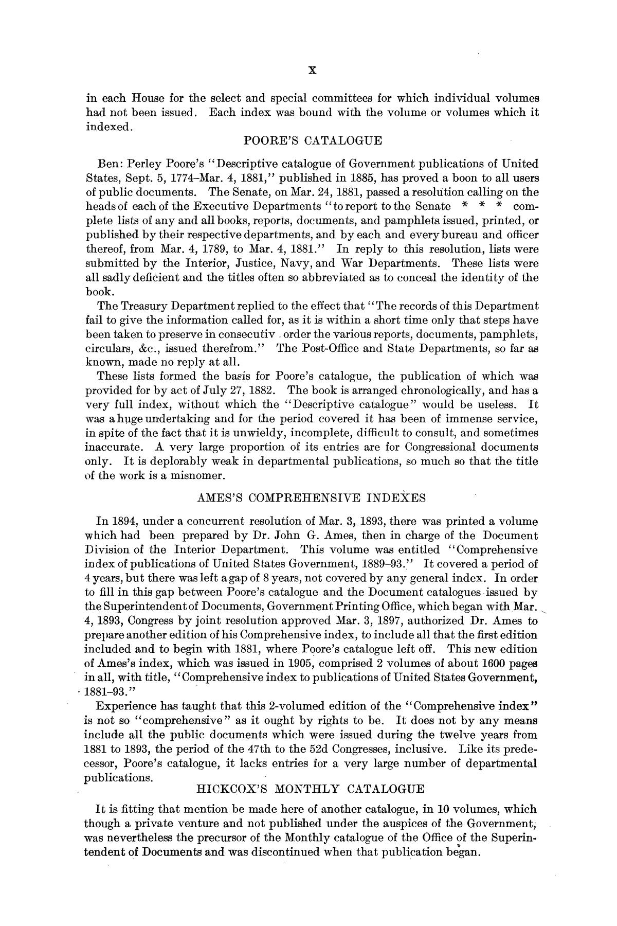 Checklist of United States Public Documents, 1789-1909, Third Edition Revised and Enlarged, Volume 1, Lists of Congressional and Departmental Publications                                                                                                      X