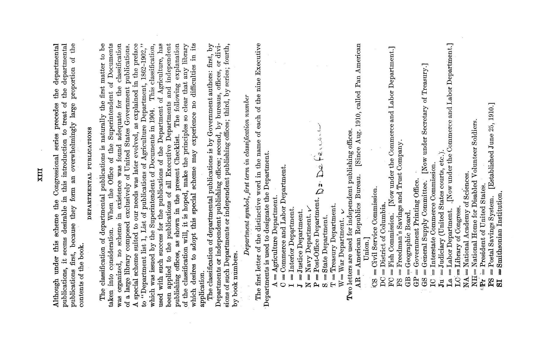 Checklist of United States Public Documents, 1789-1909, Third Edition Revised and Enlarged, Volume 1, Lists of Congressional and Departmental Publications                                                                                                      XIII