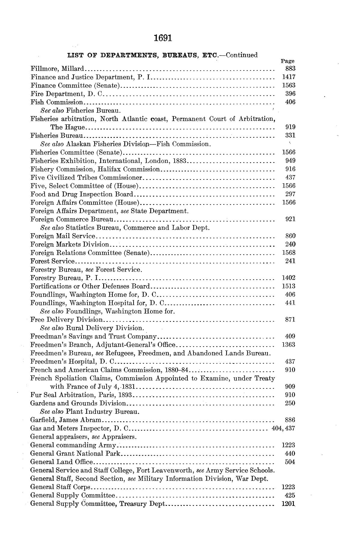 Checklist of United States Public Documents, 1789-1909, Third Edition Revised and Enlarged, Volume 1, Lists of Congressional and Departmental Publications                                                                                                      1691