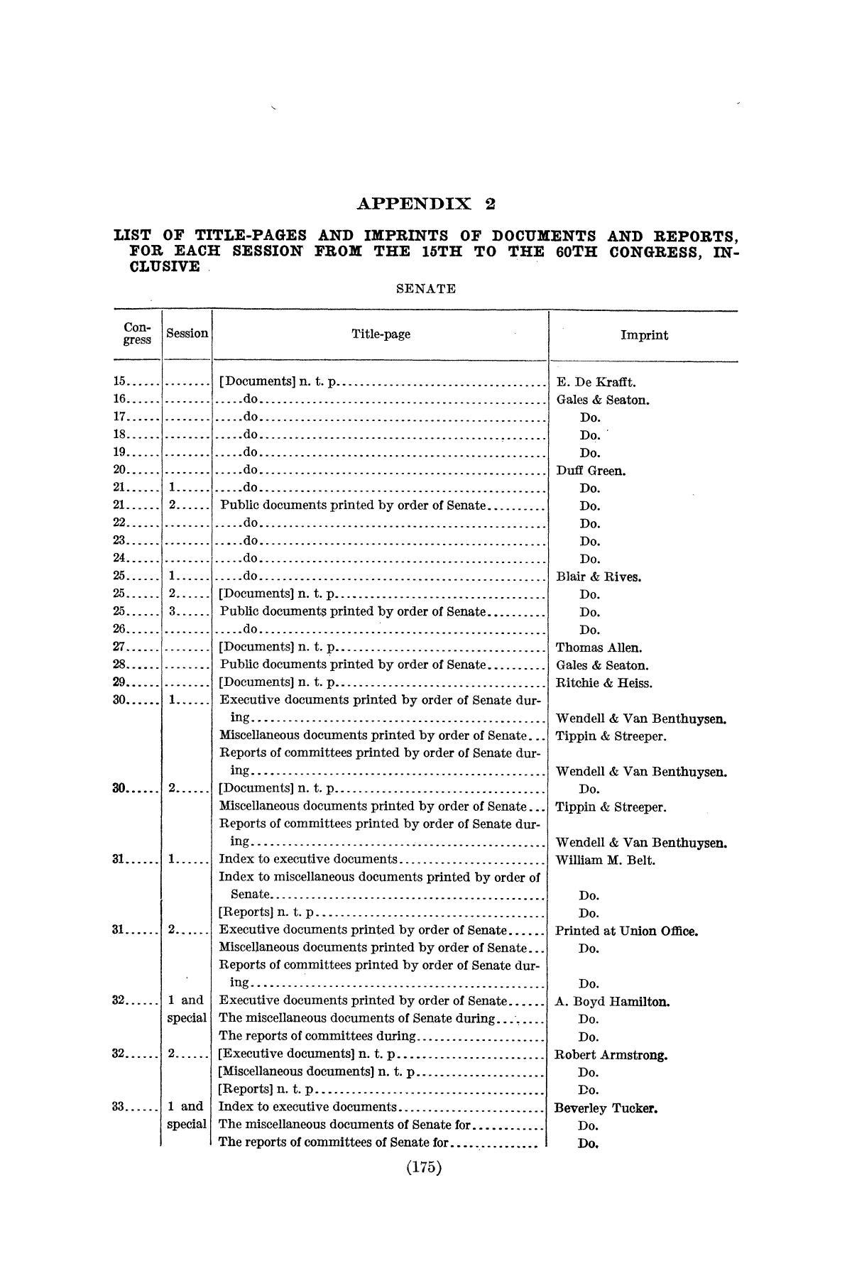 Checklist of United States Public Documents, 1789-1909, Third Edition Revised and Enlarged, Volume 1, Lists of Congressional and Departmental Publications                                                                                                      175