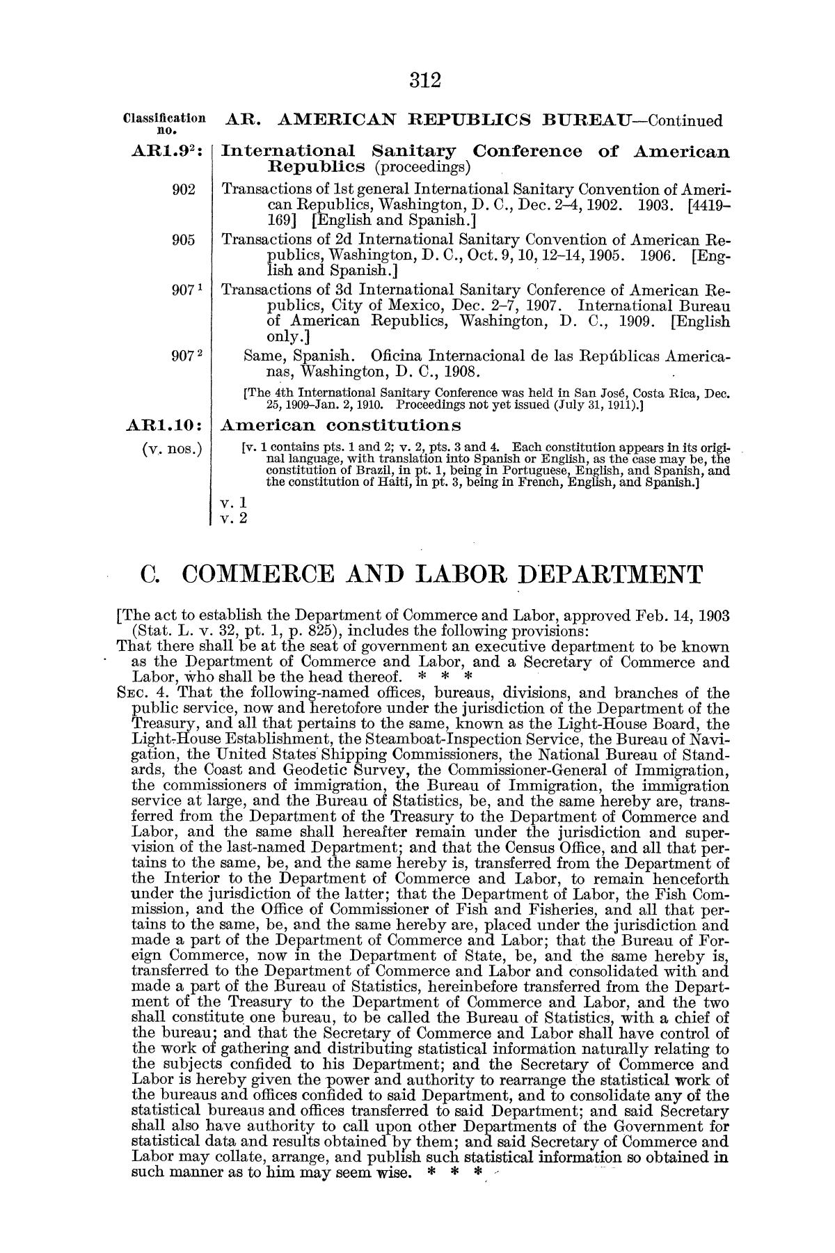 Checklist of United States Public Documents, 1789-1909, Third Edition Revised and Enlarged, Volume 1, Lists of Congressional and Departmental Publications                                                                                                      312