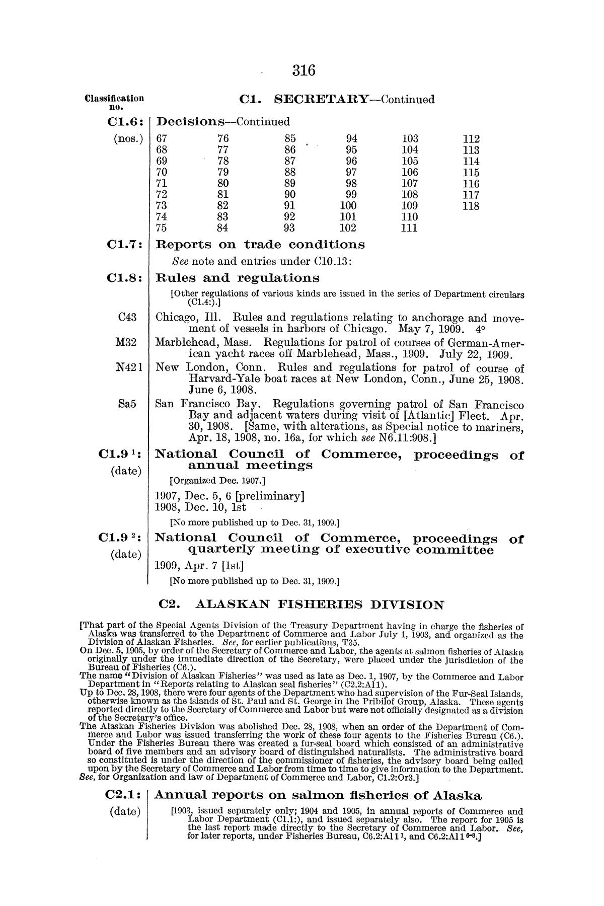 Checklist of United States Public Documents, 1789-1909, Third Edition Revised and Enlarged, Volume 1, Lists of Congressional and Departmental Publications                                                                                                      316