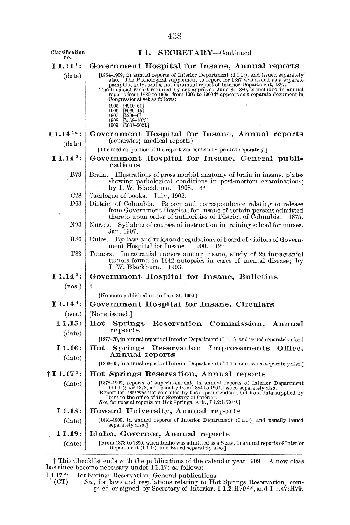 Checklist of United States Public Documents, 1789-1909, Third Edition Revised and Enlarged, Volume 1, Lists of Congressional and Departmental Publications                                                                                                      438