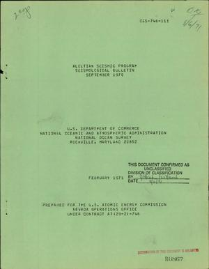 Primary view of object titled 'ALEUTIAN SEISMIC PROGRAM SEISMOLOGICAL BULLETIN, SEPTEMBER 1970.'.