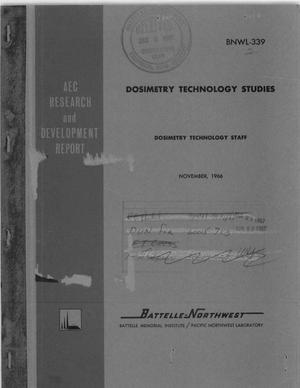 Primary view of object titled 'DOSIMETRY TECHNOLOGY STUDIES, 1965.'.