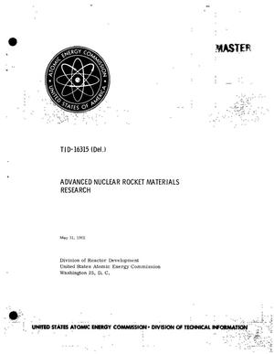 Primary view of object titled 'Advanced Nuclear Rocket Materials Research'.