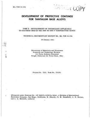 Primary view of object titled 'DEVELOPMENT OF PROTECTIVE COATINGS FOR TANTALUM-BASE ALLOYS. TASK II. DEVELOPMENT OF TECHNOLOGY APPLICABLE TO COATINGS USED IN THE 3000 TO 4000 F TEMPERATURE RANGE'.