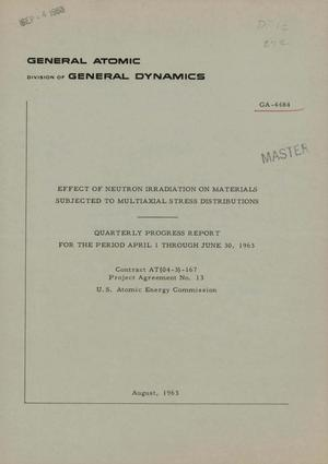 Primary view of object titled 'Effect of Neutron Irradiation on Materials Subjected to Multiaxial Stress Distributions. Quarterly Progress Report, April 1-June 30, 1963'.