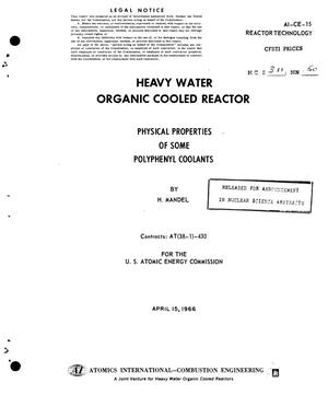 Primary view of object titled 'HEAVY WATER ORGANIC COOLED REACTOR. PHYSICAL PROPERTIES OF SOME POLYPHENYL COOLANTS'.