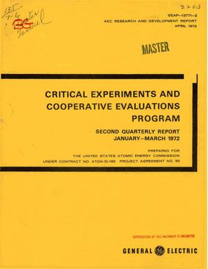 Primary view of object titled 'CRITICAL EXPERIMENTS AND COOPERATIVE EVALUATIONS PROGRAM. Second Quarterly Report, January--March 1972.'.