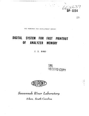 Primary view of object titled 'DIGITAL SYSTEM FOR FAST PRINTOUT OF ANALYZER MEMORY.'.