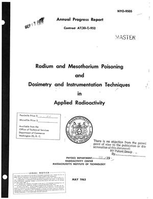 Primary view of object titled 'RADIUM AND MESOTHORIUM POISONING AND DOSIMETRY AND INSTRUMENTATION TECHNIQUES IN APPLIED RADIOACTIVITY. Annual Progress Report'.
