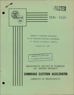 Primary view of object titled 'SUMMARY OF RESEARCH OPERATIONS AT THE CAMBRIDGE ELECTRON ACCELERATOR'.
