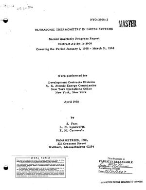 Primary view of object titled 'ULTRASONIC THERMOMETRY IN LMFBR SYSTEMS. Second Quarterly Progress Report, January 1, 1968--March 31, 1968.'.
