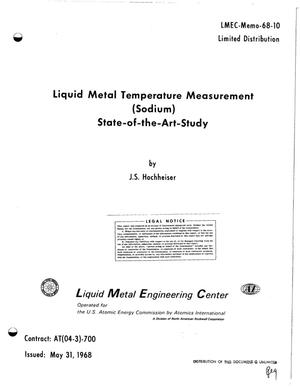 Primary view of object titled 'LIQUID METAL TEMPERATURE MEASUREMENT (SODIUM) STATE-OF-THE-ART-STUDY.'.