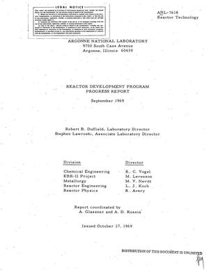 Primary view of object titled 'REACTOR DEVELOPMENT PROGRAM PROGRESS REPORT, SEPTEMBER 1969.'.