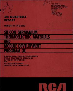 Primary view of object titled 'SILICON GERMANIUM THERMOELECTRIC MATERIALS AND MODULE DEVELOPMENT PROGRAM. 5th Quarterly Report, January 1, 1969--March 31, 1969.'.