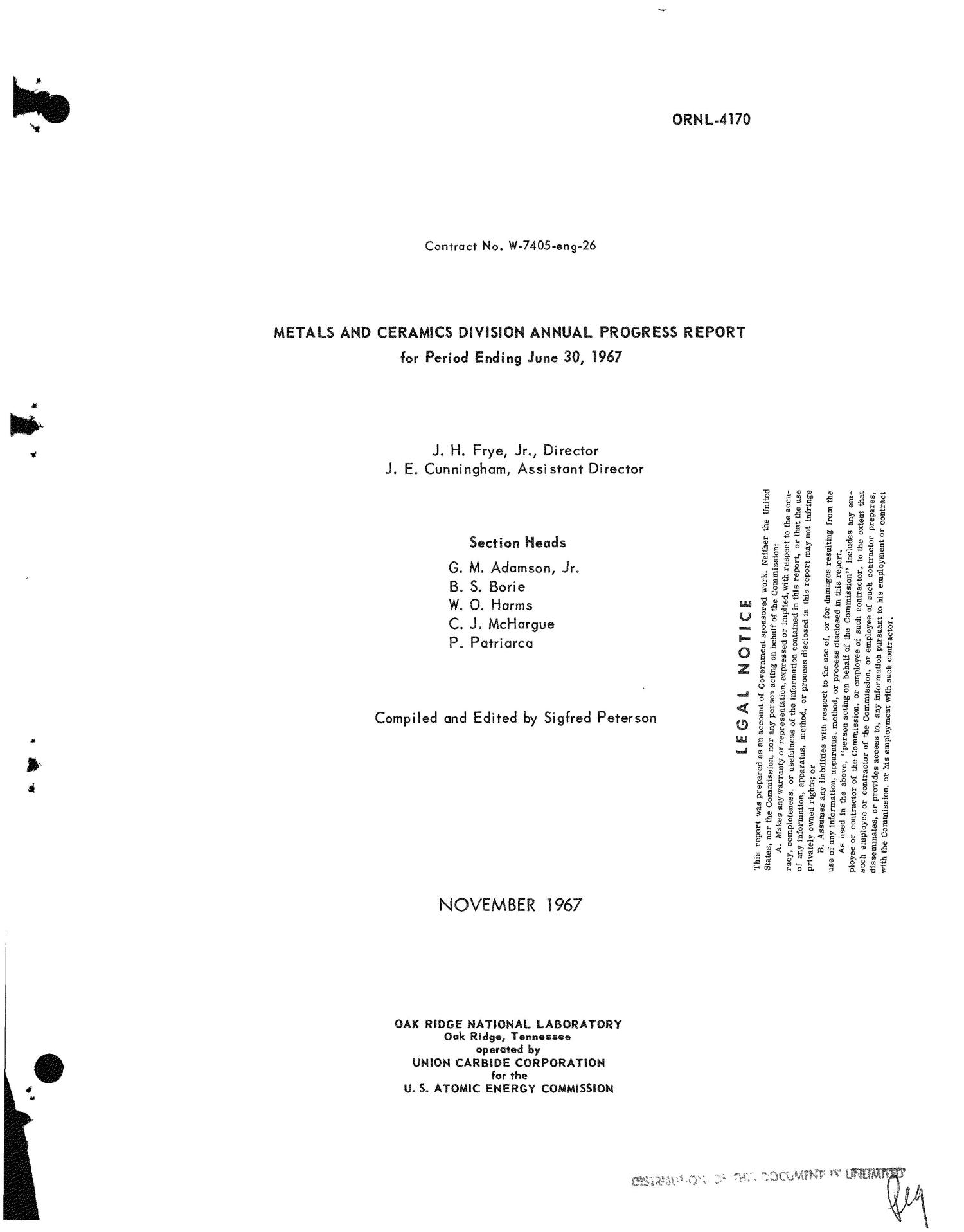 Metals and Ceramics Division Annual Progress Report for Period Ending June 30, 1967.                                                                                                      [Sequence #]: 1 of 300