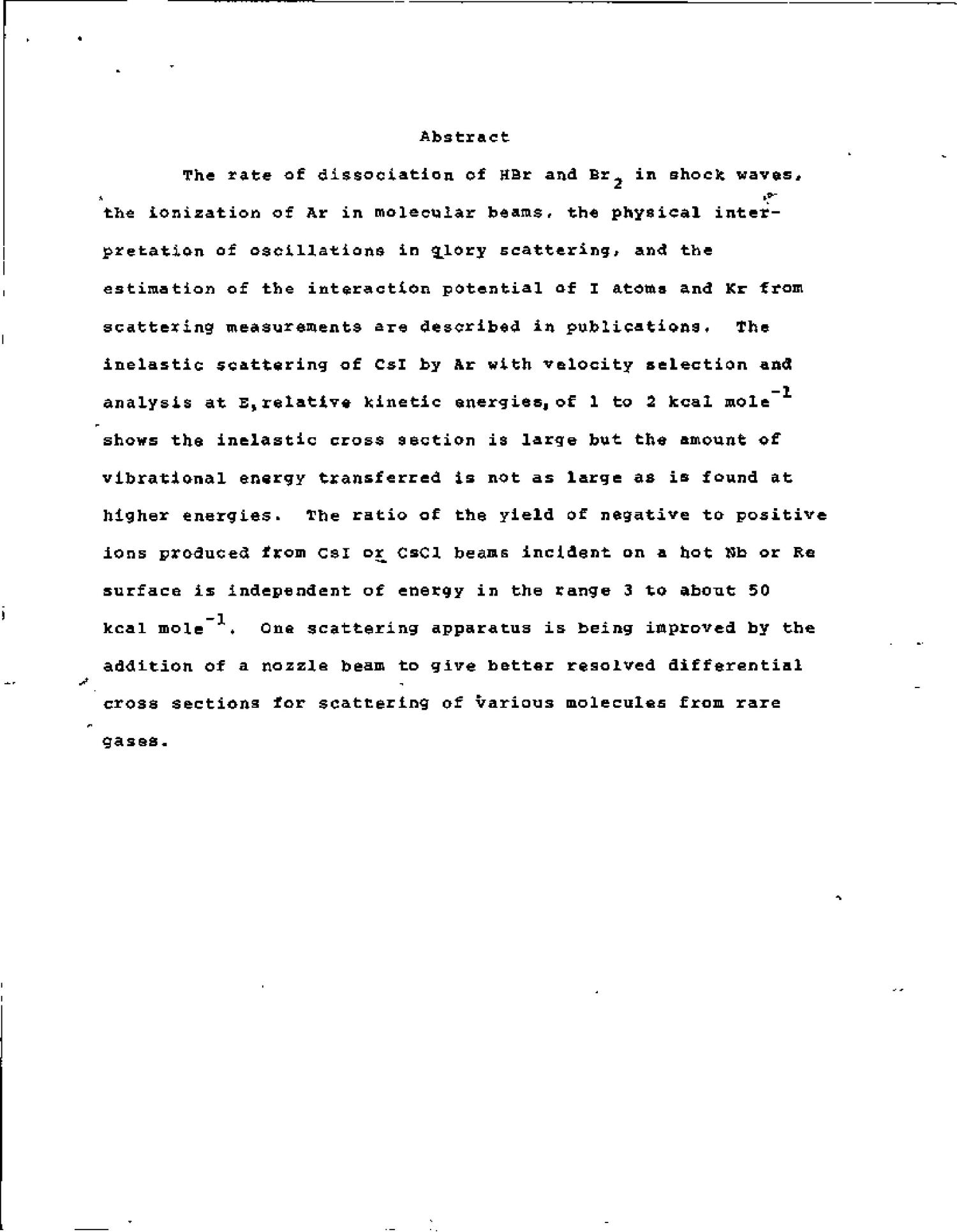 EXPERIMENTAL CHEMICAL KINETICS. A STUDY OF CHEMICAL REACTIONS BY MEANS OF MOLECULAR BEAM AND SHOCK WAVE TECHNIQUES. Progress Report, October 15, 1971--October 14, 1972.                                                                                                      [Sequence #]: 4 of 14