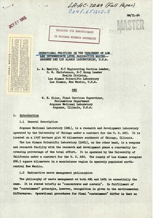 Primary view of object titled 'Operational Practices in the Treatment of Low and Intermediate Level Radioactive Wastes-Argonne and Los Alamos Laboratories, U.S.A.'.