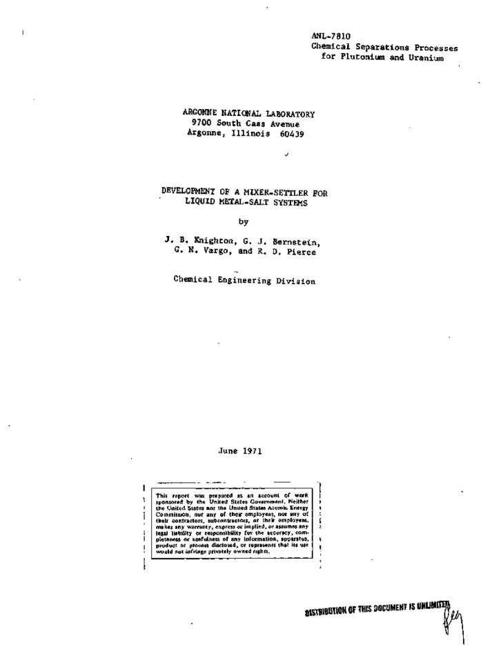 DEVELOPMENT OF A MIXER-SETTLER FOR LIQUID METAL-SALT SYSTEMS